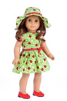 Ladybug -3 piece outfit - Summer Dress, Hat and Red Shoes - 18 inch doll clothes (doll not included)