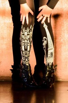 8aa1c00cf91 Sexy urban tattoo tights in Black with an all over grey Paris print  pattern. Designed