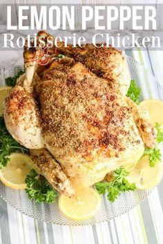 Rotisserie Chicken with lemon pepper. This Ninja Foodi chicken recipe is incr. Pressure Cook Whole Chicken, Cooking Whole Chicken, Lemon Pepper Seasoning, Lemon Pepper Chicken, Yum Yum Chicken, Recipe Chicken, Chicken Recipes, Chicken Stuffed Peppers, Stuffed Whole Chicken