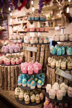Beautiful craft show display for soaps. Good use of color, repeating brown, pink and blue pulls the space together