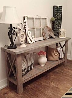 Check this, you can find inspiring Photos Best Entry table ideas. of entry table Decor and Mirror ideas as for Modern, Small, Round, Wedding and Christmas. Country Farmhouse Decor, Rustic Decor, Modern Farmhouse, Entry Table Farmhouse, Country Kitchen, Rustic Entry Table, Rustic Entryway, Modern Decor, Decorating Your Home