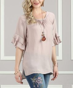 Another great find on #zulily! Taupe Ruffle-Sleeve Tunic - Plus Too #zulilyfinds