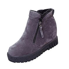 Inkach Women Fashion Ankle Boots Flats Casual Shoes Warm Suede Shoes 7 US Gray *** This is an Amazon Affiliate link. Learn more by visiting the image link.
