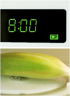 Corn shucking made easy: in the microwave!