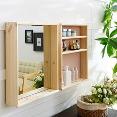 Pallet Furniture, Furniture Plans, Furniture Decor, Diy Woodworking, Woodworking Projects Plans, Diy Mirror, Wall Mirrors, Wooden Diy, Floating Shelves