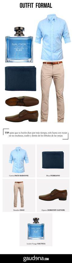 El mejor outfit formal para hombre. Perfecto para ir a la oficina. #Outfit #Hombre #Men #FormalOutfit #OutfitFormal #Camisa #Shirt #BlueShirt #CamisaAzul #Shoes #Zapatos #ZapatosFormales #Pantalón #PantalónBeige