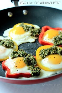 Egg in a Hole topped with fresh Basil Pesto, seriously one of my favorite healthy breakfast recipes EVER | joyfulhealthyeats.com #glutenfree