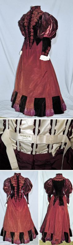 Visiting dress, Worth, ca. 1895. Burgundy silk faille trimmed with velvet, cord flower heads, and lavender silk-fringed tassels. Boned bodice has leg-o-mutton sleeves, It closes with velvet-covered buttons down front & is lined in ivory silk. Sleeves have double lace ruffle at wrists. There's also a pleated silk jabot. Shasta's Vintage/ebay