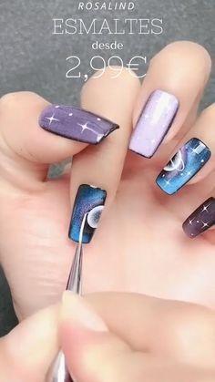 Nail Art Designs Videos, Nail Art Videos, Short Nails Art, Long Nails, Stylish Nails, Trendy Nails, White Nail Art, Purple Nail Art, Fall Nail Art