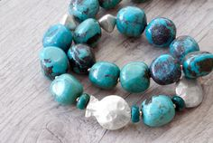 Natural Turquoise Necklace Sterling Silver Fish by SunSanJewelry