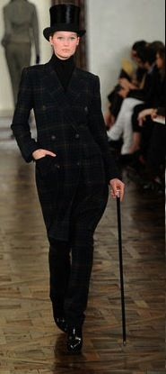 RALPH LAUREN - Fall 2012  top hat, walking stick, trousers.