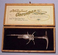 Wilcox-Jewett Obtunder (1905)  The Wilcox-Jewett Obtunder was a futuristic-looking device that used a periodontal syringe for the oral injection of anesthetic substances (typically cocaine).