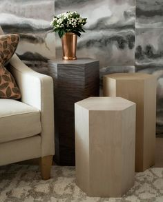 The Ninos are a collection of unusually shaped side tables which use a multiplicity of finishes to striking effect. The tables can be used individually or together for greater impact.