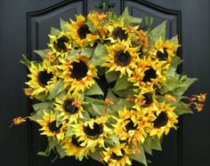Sunflower Wreaths Berry Wreath Fall Decor by twoinspireyou