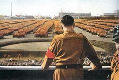 .Hitler giving a speech.