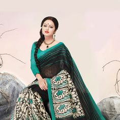 Off White and Black Art Jute Silk Saree with Blouse
