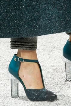 teal tweed Chanel Fall 2012 shoes