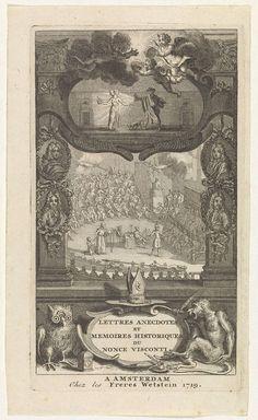 anoniem | Wonderbaarlijke verschijning tijdens religieuze bijeenkomst, possibly Bernard Picart, 1719 | Tijdens een concilie komen uit twee wolken handen tevoorschijn, met een fakkel en een bundel slangen. De voorstelling is gevat in een ornamentele omlijsting met portretten. Bovenaan een cartouche bekroond door putti met duivelhorens. Een man met een lantaarn beschijnt een vrouw met twee hoofden. In haar handen houdt zij een vlammend hart en een masker(?). Onderaan een cartouche met de titel…
