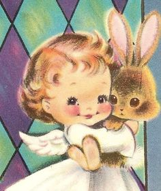 Vintage 1960s Easter Card UNUSED NORCROSS Angel Holds Bunny Church Window