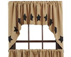 New Primitive Country Farmhouse BLACK STAR BURLAP Curtain Window Valance Swag #Country