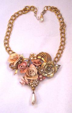 Sculpted Flower Bib Necklace Repurposed Vintage Jewelry via Etsy.