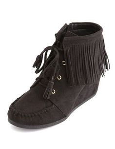 FRINGE TRIM WEDGE MOCCASIN BOOTIE - Charlotte Russe. <3 I want these in brown so bad, but the brown pair is sold out :c