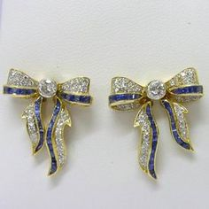 Antique 18ct Gold Diamond & Sapphire Bow Earrings