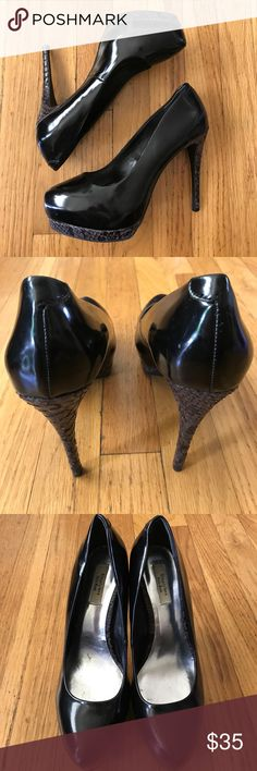 Black Vera pumps Beautiful Back Closed Toe Shoes With Faux Snake Skin Detailing. Simply Vera Vera Wang Shoes Heels