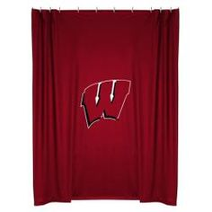 Wisconsin Badgers Shower Curtain in Bright Red