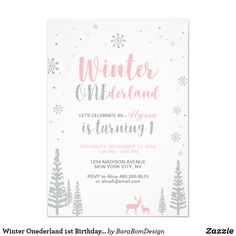 Shop Pink Winter Wonderland, Girl Baby Shower/Sprinkle Invitation created by BaraBomDesign. Personalize it with photos & text or purchase as is! 1st Birthday Invitations Boy, Baby Sprinkle Invitations, Baby Shower Invitations, First Birthday Winter, 1st Birthday Girls, Happy Birthday, Birthday Ideas, Baby Shower Invites For Girl, Girl Shower
