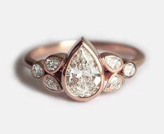 1カラットダイヤモンドリング ペアダイヤモンドエンゲージリング