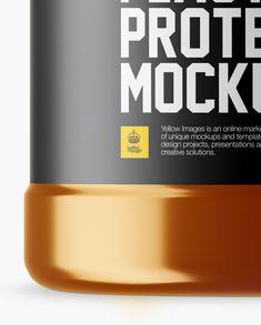 Metallic Protein Jar With Paper Label Mockup