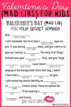 Valentine's Day Mad Libs {free printable} from www.sisterssuitcaseblog.com #valentines #printable