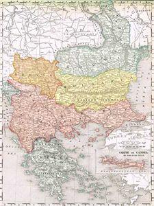 1895 Map of Bulgaria, Romania, Turkey, Greece and more