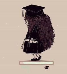 Girly Drawings, Art Drawings, Graduation Drawing, Curly Hair Drawing, Graduation Photography, Cartoon Art Styles, Graduation Pictures, Jolie Photo, Art Sketchbook