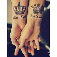 Check out Couples crown tattoo or other couple wrist tattoo designs that will blow your mind, tattoo ideas that will be your next inspiration. Couple Tattoo Quotes, Cute Couple Tattoos, Crown Couple Tattoo, Married Couple Tattoos, Tattoo Couples, Couple Quotes, Couple Tattoo Ideas, Crown Tattoo Men, Queen Crown Tattoo
