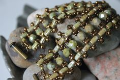 Stunning SuperDuo Brick Bead Bracelet Embellished with Czech Fire-Polished Beads