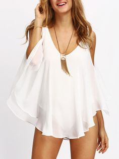 Shop White Deep V Neck Open Shoulder Blouse online. SheIn offers White Deep V Neck Open Shoulder Blouse & more to fit your fashionable… Beautiful Outfits, Cool Outfits, Casual Outfits, Blouse Col V, Backless Shirt, Europe Fashion, Blouse Styles, White Tops, Clothes For Women
