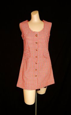 Vintage 60's red white herringbone gingham checkered houndstooth knit mod op art go go girl a-line mini dress gold metal buttons - S / M