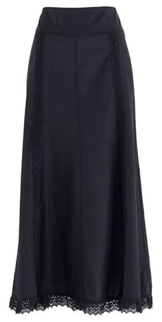 Plain Black Maxi Skirt With Lace Trim