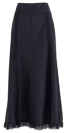 Plain Black Maxi Skirt With Lace Trim