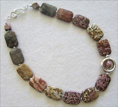 MultiColor Picture Jasper Necklace with Silver Pendant - pinned by pin4etsy.com