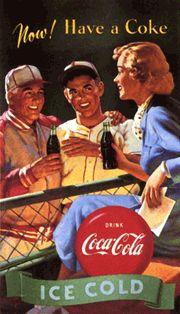 Vintage coca cola ad ~ baseball