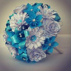 Paper Flowers Origami Bouquet Wedding Bridal by LilyBelleKeepsakes