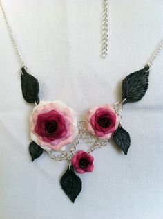 Pink Chained Rose Modern Victorian Necklace. $28.00, via Etsy.