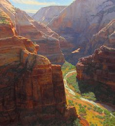 """""""Soaring,"""" Charles Muench, 40x36, oil on linen (Zion Park, Utah)"""