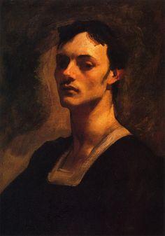 Portrait of Albert de Belleroche by John Singer Sargent, c.1883, oil on canvas, 63.5 x 41.9 cm.  Private collection.