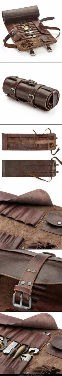 The world& best tool roll comes from Manufactum- Die weltbeste Werkzeugrolle kommt von Manufactum I See This As A Steampunk Explorer Kit In The Making …. Crea Cuir, Tool Roll, Leather Projects, Leather Tooling, Leather Roll, Leather Totes, Leather Pouch, Leather Bags, Leather Purses