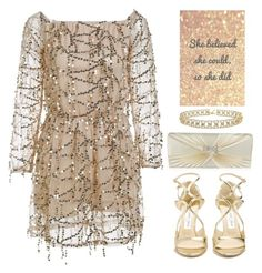"""Gold and glittery"" by oliverab ❤ liked on Polyvore featuring Jimmy Choo, gold, glitters and rosegal"