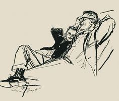 """rogerwilkerson: """" Father & Son Relaxing, art by Austin Briggs… have a great weekend folks! """""""